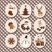 Christmas set Santa Claus, reindeer, stockings, gifts, candles, Christmas tree, snowman,snowflake, candy — Stock Vector