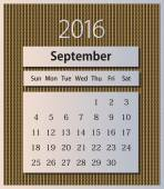 Sample calendar 2016 on knitted background vector, September — Stock Vector