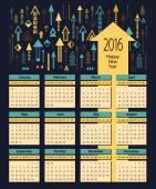 Business calendar 2016 with a set of arrows — Stock Vector
