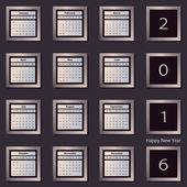 Calendar 2016 vector decign template. Week starts Sunday. Eps 10 — Stock Vector