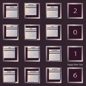 Calendar 2016 vector design template. Week starts Sunday. Eps 10 — Stock Vector