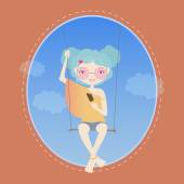 Girl swinging on a swing, and eating ice cream — Stock Vector