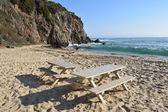 Laguna Beach Picnic Tables — Stock Photo