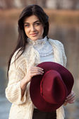 Portrait of beautiful girl with hat — Stock Photo