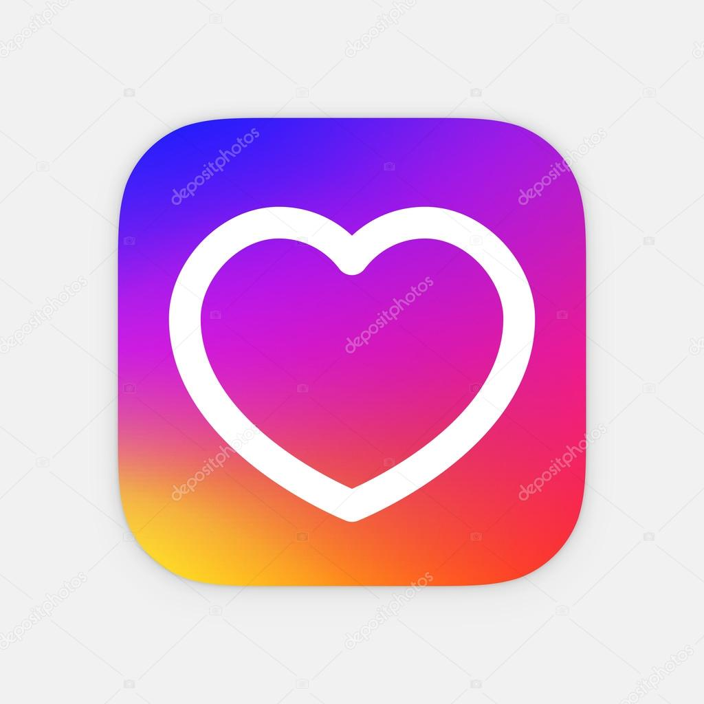 heart app icon template mobile application icon vector