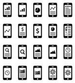 Mobile analytics icons — Stock Vector