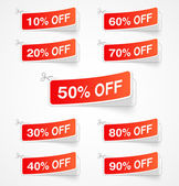 Labels with discount signs — Stock Vector