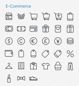 33 Thin Icons Set of E-Commerce. — Stock Vector