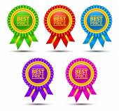 Best price color labels with ribbons. — Stock Vector