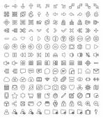 168 Pixel perfect line icons pack — Stock Vector
