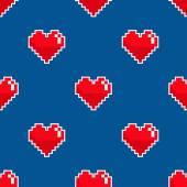 Pixel heart seamless pattern. — Stock Vector