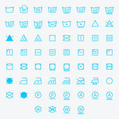 Icon set of laundry symbols. Vector illustration — Stock Vector