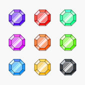 Gemstone vector illustrations isolated on white background — Stok Vektör