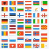 Set de banderas de europa, completa — Vector de stock