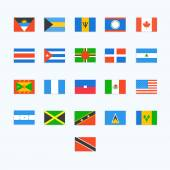 North American Country Flags. Vector icons — Stock Vector
