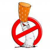 No smoking sign and cigarette — Stock Vector