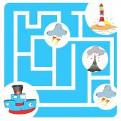 Maze game boat and lighthouse — Stock Vector