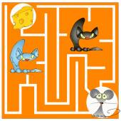 Maze game about a cat and mouse — Stock Vector