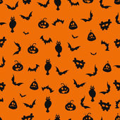Seamless black and orange Halloween background — Stock Vector