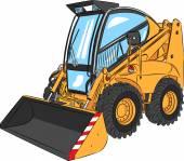 Vector Mini Excavator — Stock Vector