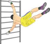 Vektorové sportovec na gymnastické zařízení — Stock vektor
