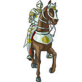 Vector medieval knight in armor on horseback — Stock Vector
