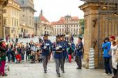 Prague. Soldiers guard of honor near the Presidental palace. — Stock Photo