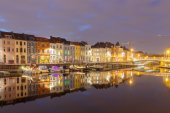 Gent. River Leie at night. — Stock Photo
