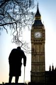 Big Ben and Sir Winston Churchill at Westminster in London — Stock Photo