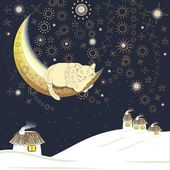 Sleeping cat on the moon over Ukrainian village in winter, contains brushes — Stock Vector