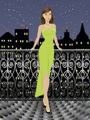 Young fashion girl in long dress wearing jewelry over cityscape, standing on the balcony with iron fence. You can pick every object separately from the layer. — Stock Vector