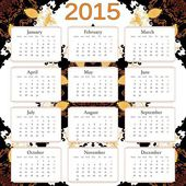 2015 calendar with abstract background. Free font used, week starts with monday. — Stock Vector
