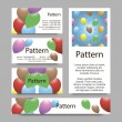 3d Business cards pattern with vibrant balloons. RGB. Includes seamless pattern. — Stock Vector #53408563