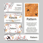 Business cards pattern with autumn,spring brunches. RGB. Includes seamless pattern. — Stock Vector
