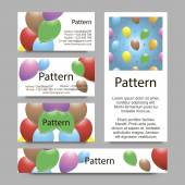 3d Business cards pattern with vibrant balloons. RGB. Includes seamless pattern. — Stock Vector