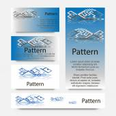3d Business cards pattern with impossible geometrical figures of fish. RGB — Stockvektor