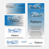 3d Business cards pattern with impossible geometrical figures of fish. RGB — Vettoriale Stock