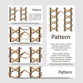 3d Business cards pattern with impossible geometrical figures. Includes seamless pattern. RGB — Stock Vector