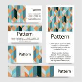 3d Business cards pattern with geometrical figures. RGB. Includes seamless pattern. — Stock Vector