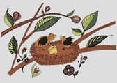 Birds i the nest with eggs — Stock Vector