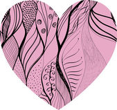 Pink hand drawn decorated heart — Stockvektor