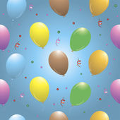 Happy birthday seamless pattern with balloons. Gradients, transparency. — Stock Vector