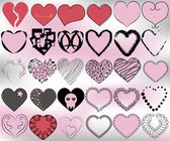 30 hearts pattern set — Stock Vector