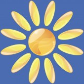 Abstract sun icon, gradient and transparency used — Stock Vector