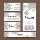 Business cards pattern with hand drawn floral ornaments — Stock Vector