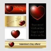 Red bright heart, Valentine's Day card design. Free fonts used. Layered. — Stok Vektör