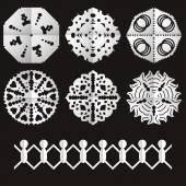 Cutted from paper old style snowflakes — Stock Vector