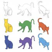 Colorful Cat silhouettes collection, unstroke path — Vector de stock