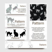 Business cards pattern with cats. INCLUDES SEAMLESS PATTERN. CMYK — Stock Vector