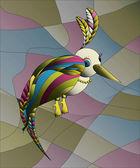 Unusual vibrant vitrage bird — Stockvector